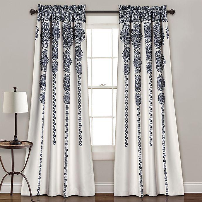 Alternate image 1 for Lush Décor Stripe Medallion 84-Inch Room Darkening Window Curtain Panel Pair in Navy