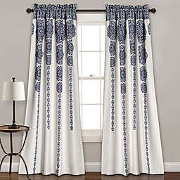 Lush Decor Stripe Medallion 84-Inch Room Darkening Rod Pocket Window Curtain Panels (Set of 2)