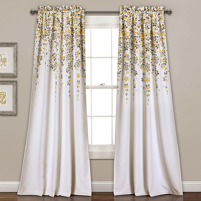 Alternate image 1 for Lush Décor Weeping Flowers 84-Inch Room Darkening Window Curtain Panel Pair in Yellow/Grey