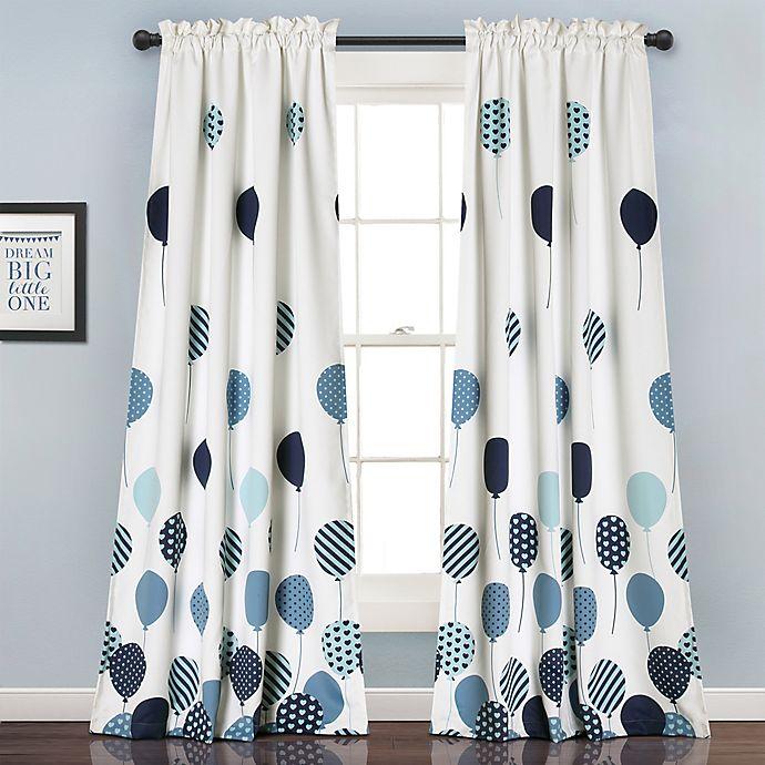 Alternate image 1 for Flying Balloon 84-Inch Room Darkening Rod Pocket Window Curtain Panel Pair in Blue