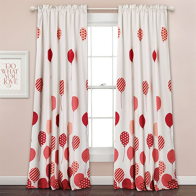 Alternate image 1 for Flying Balloon 84-Inch Room Darkening Rod Pocket Window Curtain Panel Pair in Pink