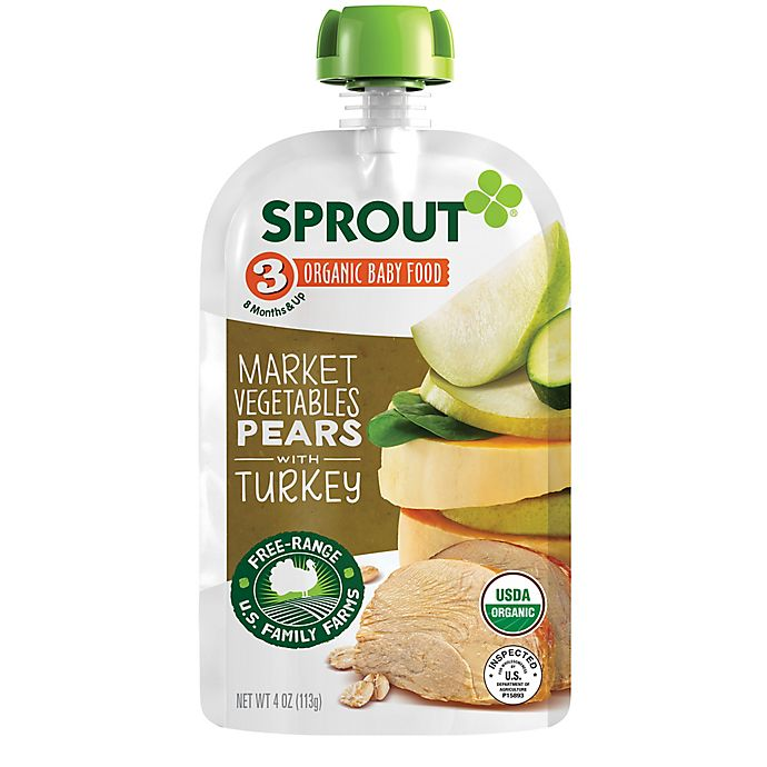 Alternate image 1 for Sprout® 4-Ounce Stage 3 Organic Baby Food in Market Vegetables & Pear with Turkey