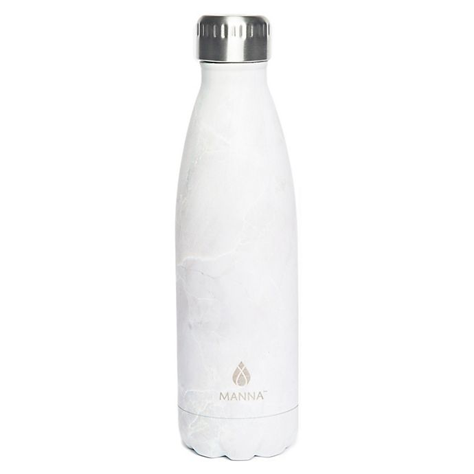 Alternate image 1 for Manna™ Vogue®  17 oz. Stainless Steel Double Wall Water Bottle in White Marble