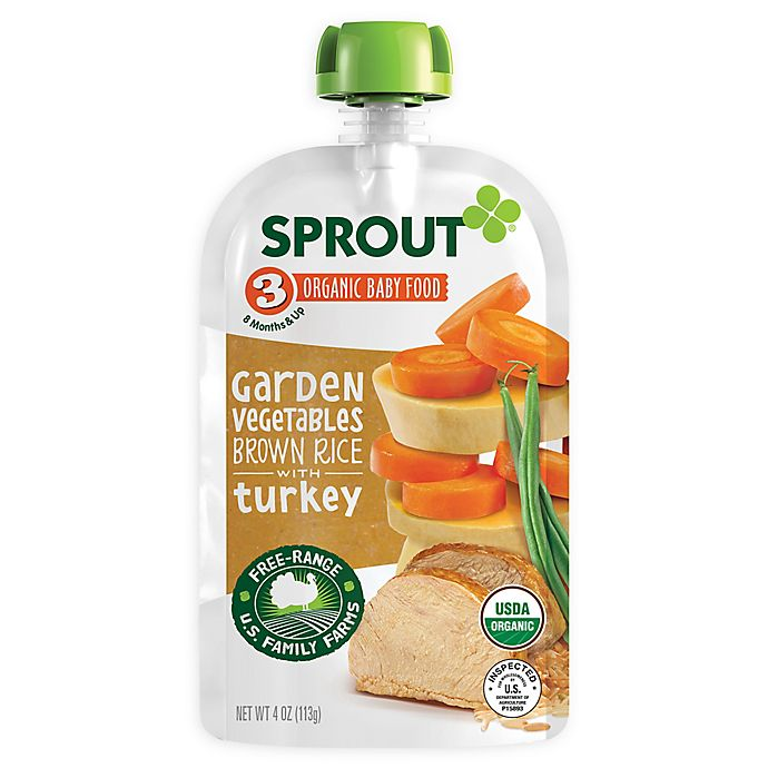 Alternate image 1 for Sprout® 4--Ounce Stage 3 Organic Baby Food in Garden Vegetables with Turkey
