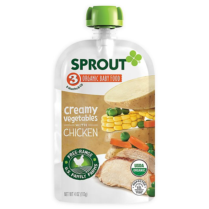 Alternate image 1 for Sprout® 4-Ounce Stage 3 Organic Baby Food in Creamy Vegetables with Chicken