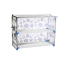 Bonita 2-Tier Shoe Rack with Cover in Blue