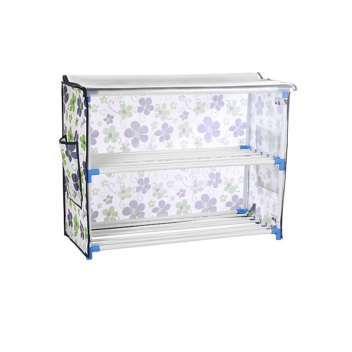 Alternate image 1 for Bonita 2-Tier Shoe Rack with Cover in Blue