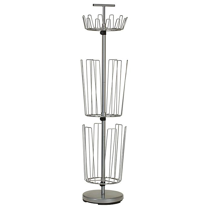 Alternate image 1 for Household Essentials 3-Tier Revolving Boot and Shoe Rack in Silver