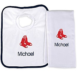 Designs by Chad and Jake MLB Boston Red Sox Bib and Burp 2-Piece Set