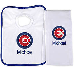 Designs by Chad and Jake MLB Chicago Cubs Bib and Burp 2-Piece Set