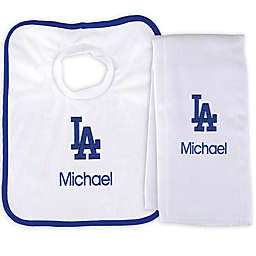Designs by Chad and Jake MLB Los Angeles Dodgers Bib and Burp 2-Piece Set