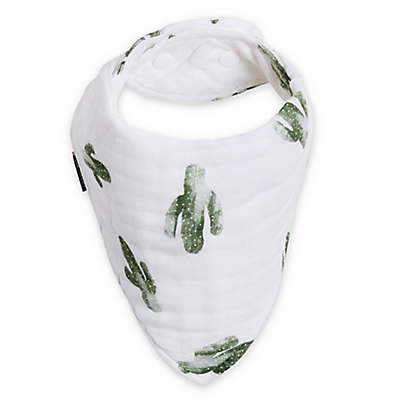 Bebe au Lait® Saguaro Bandana Muslin Bib in Green/White