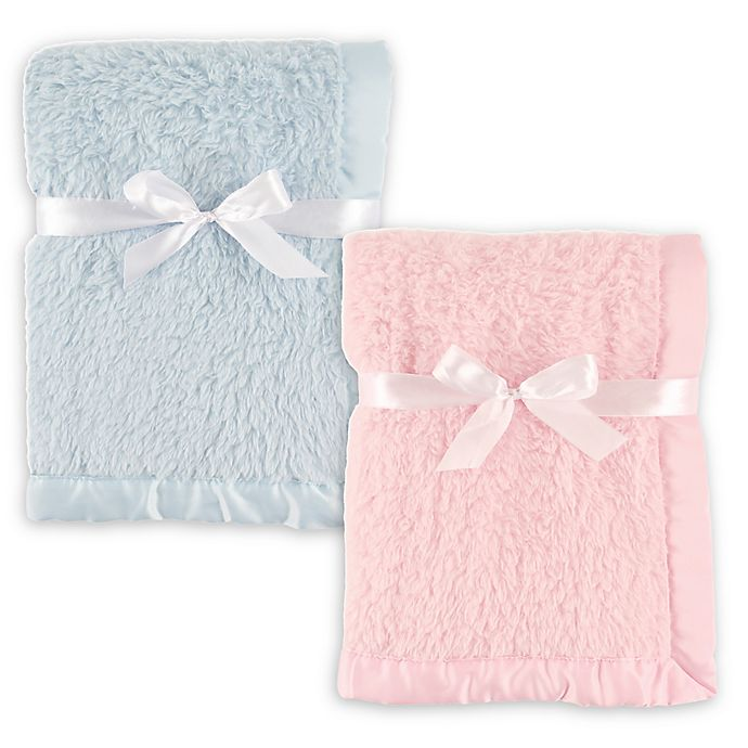 Alternate image 1 for Hudson Baby® Sherpa Blanket with Matte Satin Trim