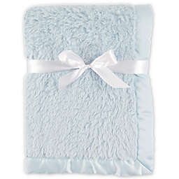 Hudson Baby® Sherpa Blanket with Matte Satin Trim in Blue