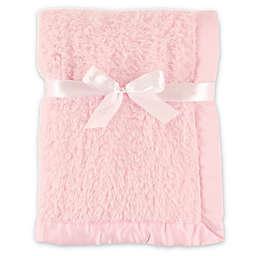Hudson Baby® Sherpa Blanket with Matte Satin Trim in Pink
