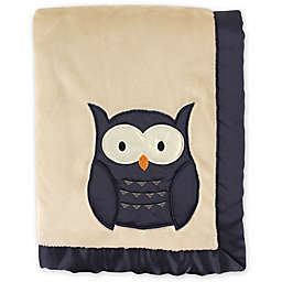 Hudson Baby® Plush Owl Blanket with Satin Trim in Navy