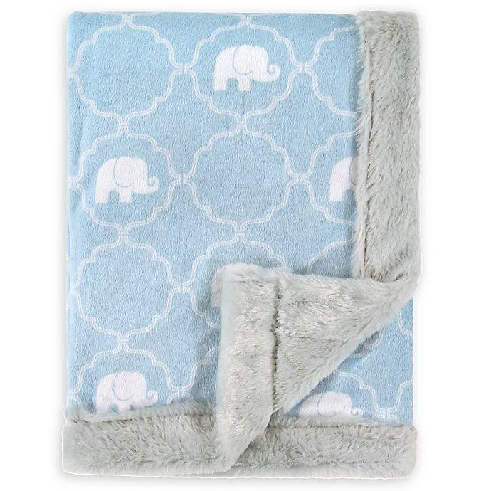 Alternate image 1 for Hudson Baby® Plush Elephant Blanket in Blue