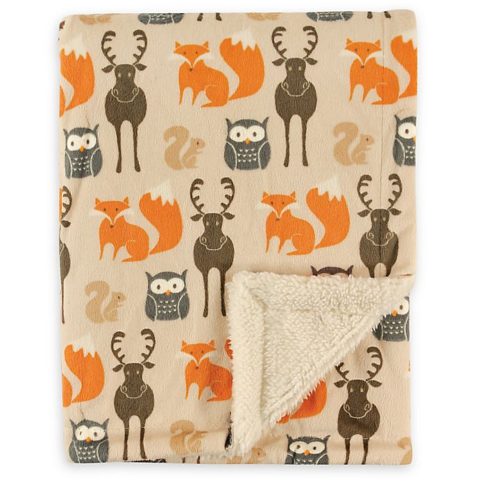 Alternate image 1 for Hudson Baby® Minky Blanket with Sherpa Back in Forest
