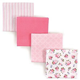 Luvable Friends® 4-Pack Flannel Garden Receiving Blankets in Pink