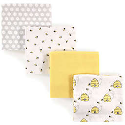 Luvable Friends® 4-Pack Flannel Bee Receiving Blankets in Yellow
