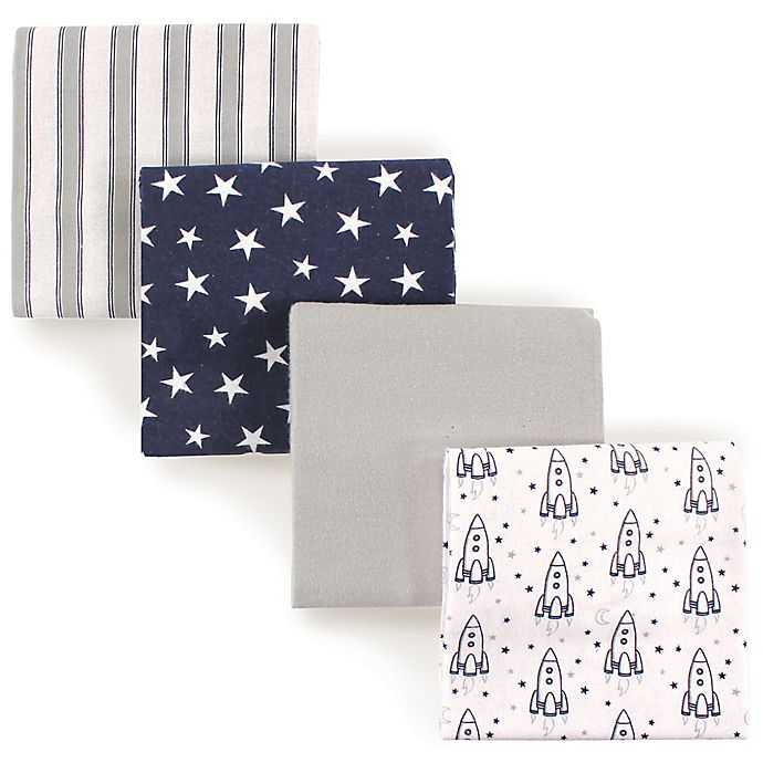 Alternate image 1 for Luvable Friends® 4-Pack Flannel Rocket Receiving Blankets in Blue
