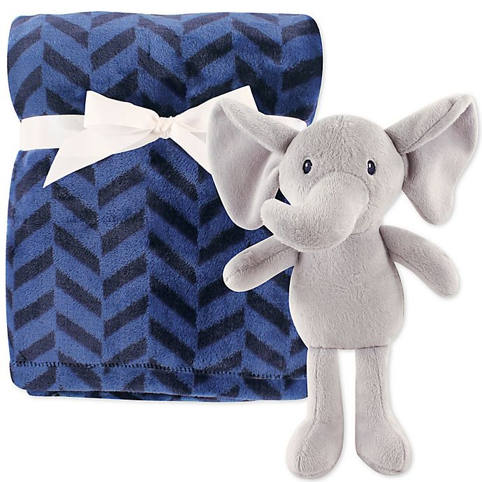 Alternate image 1 for Hudson Baby® Elephant Blanket and Toy Set in Blue