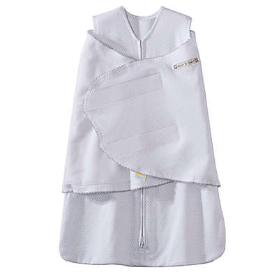 HALO® SleepSack® Grey Pin Dot Multi-Way Adjustable Swaddle in White