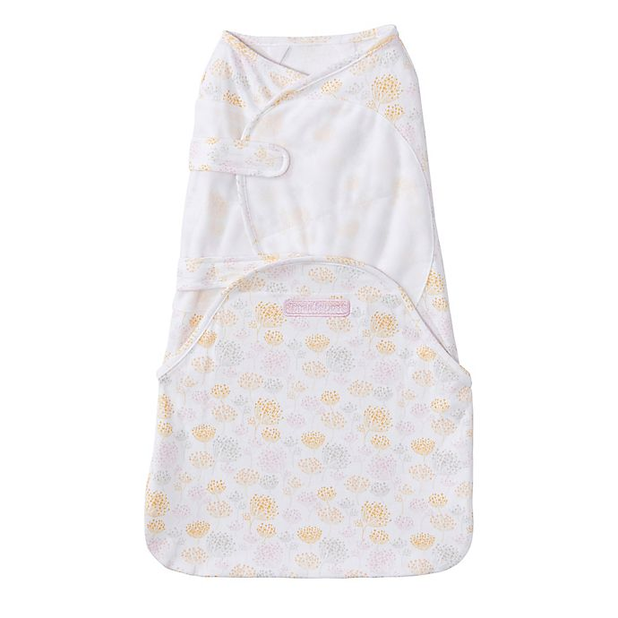Alternate image 1 for HALO® SwaddleSure™ Small Floral Adjustable Swaddling Pouch in White/Yellow