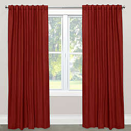 Skyline Furniture Solid 96-Inch Rod Pocket Room Darkening Window Curtain Panel in Antique Red