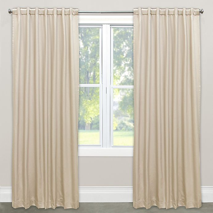 Alternate image 1 for Skyline Solid Room Darkening 120-Inch Rod Pocket/Back Tab Window Curtain Panel in Parchment