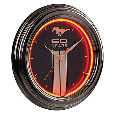 Ford Mustang Fifty Year Neon Clock in Black/Red