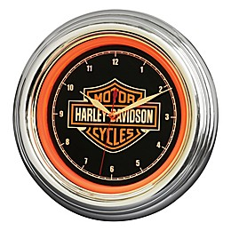 Harley-Davidson Bar & Shield LED Clock in Black/Orange