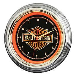 Harley-Davidson Bar & Shield LED Clock in Black/Orange