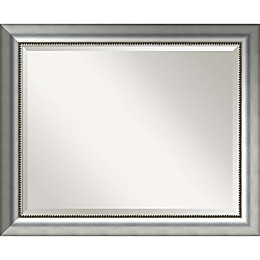 Amanti Art Vegas Curved Bathroom Mirror in Burnished Silver