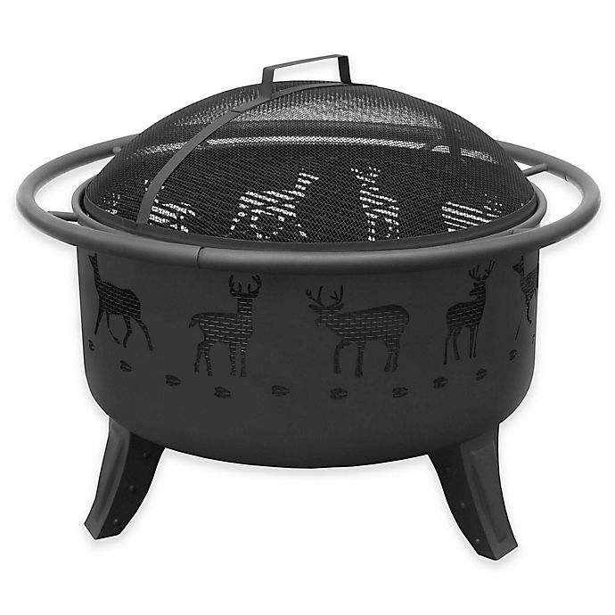 Landmann Usa Patio Lights 29 5 Inch Deer Wood Burning Fire Pit In Black Bed Bath Beyond
