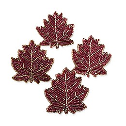 Beaded Leaf Napkin Rings in Rust (Set of 4)