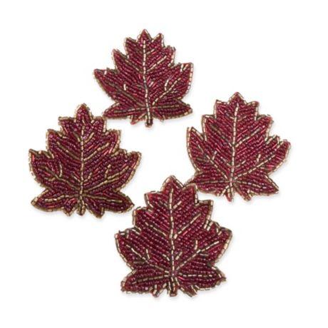 Beaded Leaf Napkin Rings In Rust Set Of 4 Bed Bath