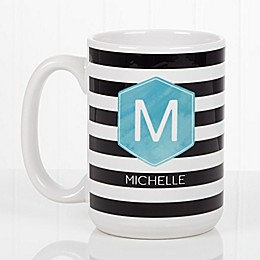 Modern Stripe 15 oz. Coffee Mug in White