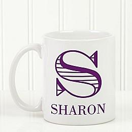 Striped Monogram 11 oz. Coffee Mug in White
