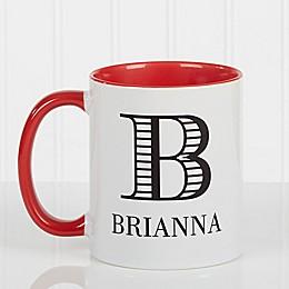 Striped Monogram 11 oz. Coffee Mug in Red
