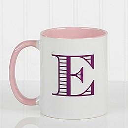 Striped Monogram 11 oz. Coffee Mug in Pink