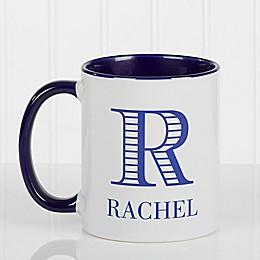 Striped Monogram 11 oz. Coffee Mug in Blue