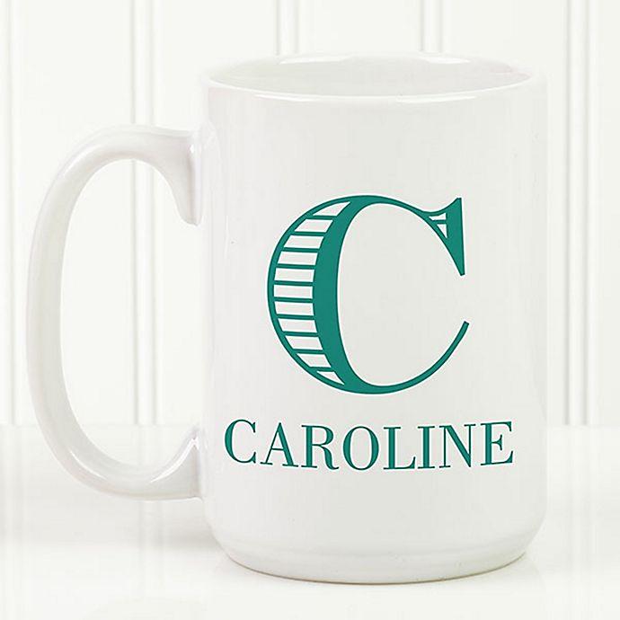 Alternate image 1 for Striped Monogram 15 oz. Coffee Mug in White