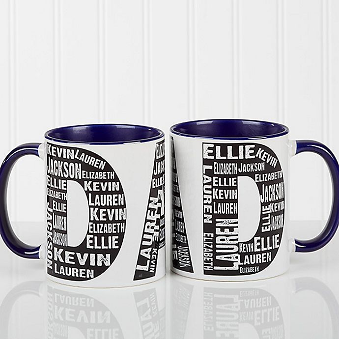 Alternate image 1 for Repeating Name for Him 11 oz. Coffee Mug in Blue