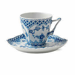 Royal Copenhagen Fluted Full Lace Coffee Cup and Saucer in Blue