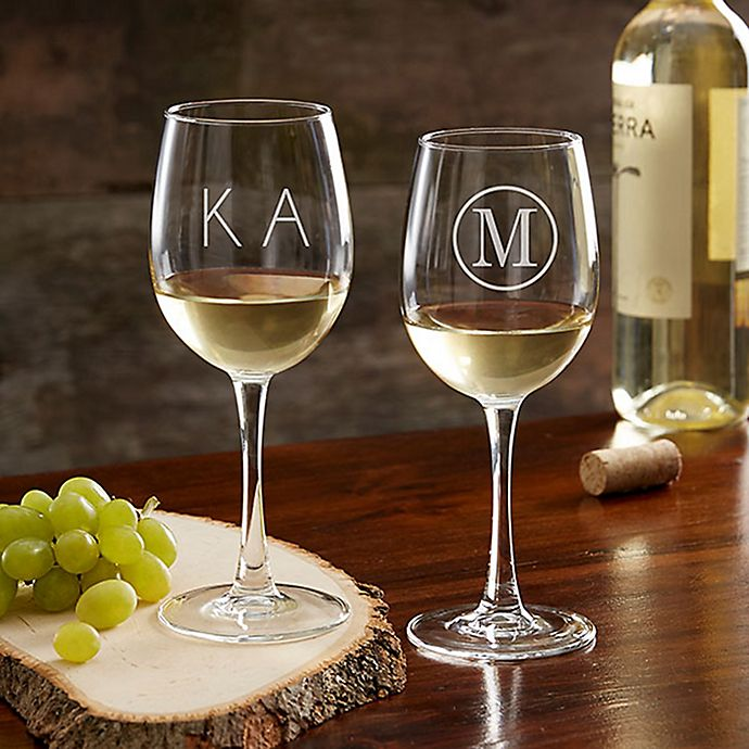 Alternate image 1 for Classic Celebrations 12 oz. White Wine Glass with Monogram