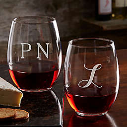 Classic Celebrations 21 oz. Stemless Wine Glass with Monogram