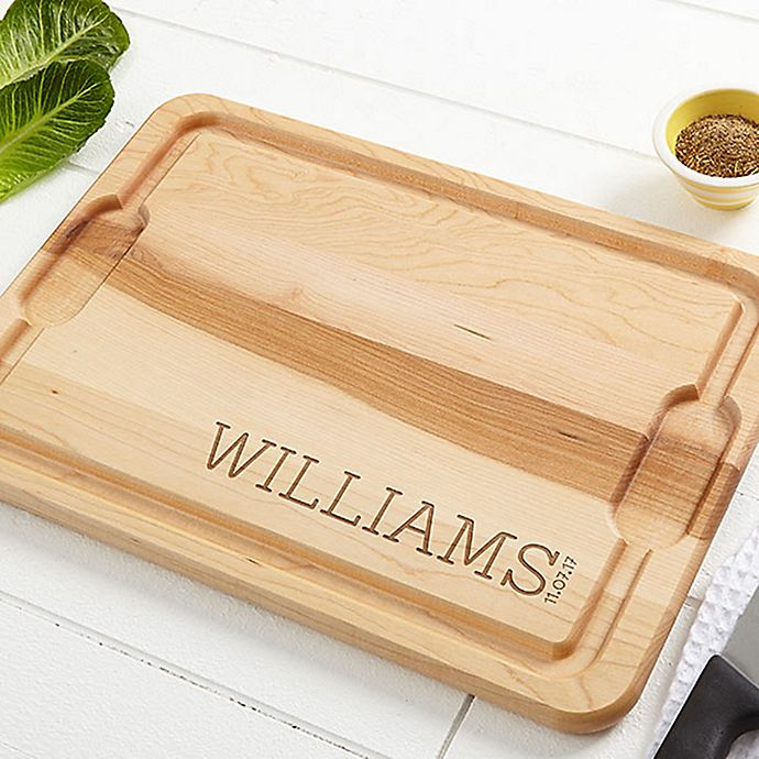 Alternate image 1 for Family Name Established 15-Inch x 21-Inch Cutting Board in Maple