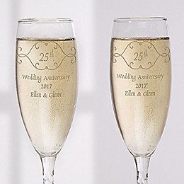 Anniversary Toast Champagne Flutes (Set of 2)