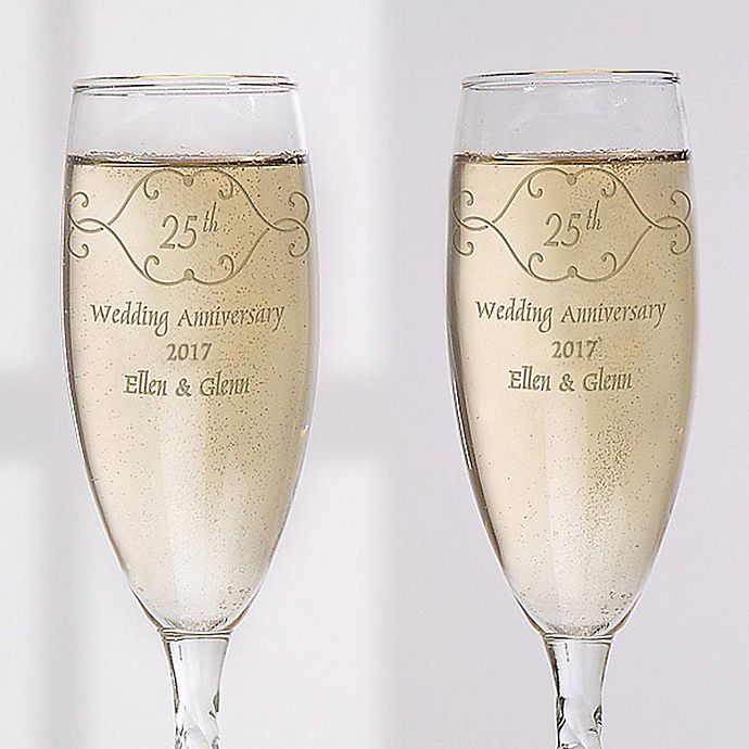 Alternate image 1 for Anniversary Toast Champagne Flutes (Set of 2)